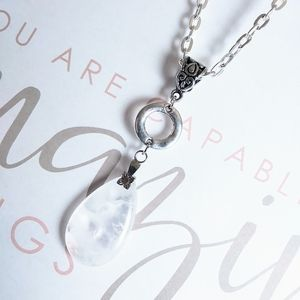 Frosted Quartz Crystal Necklace